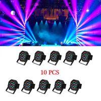 Venta caliente 30W 18-RGB LED Auto / Control de voz DMX512 Cabeza móvil de alto brillo Mini lámpara de etapa de alta calidad (AC 110-240V) NEGRO * 10