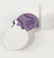 승화 빈 자동차 도자기 컵 받침 6.6 * 6.6cm 뜨거운 전사 인쇄 코스터 빈 소모품 소재 무료 빠른 배송