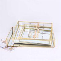 Nordic ретро хранение Tray Золотого прямоугольник стекло для макияжа Организатор Tray Десерт Плиты дисплей ювелирных изделий Главной Кухня Декор