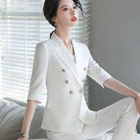 Weißer Anzug Frau Autumn Zweiteilige 3/4 Hülsen-Goldknopf-Blazer dünne Hosen Geschäfts-Dame-Frauen-Hosen-Anzüge für Arbeit Set