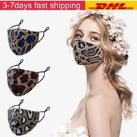 Luxe bling bling Leopard Paillettes Masque anti-poussière bouche Masques Designer Lavable réutilisables Femmes Masque Visage FY9240