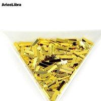 Nail Art Süslemeleri AriesLibra 20 adet Altın Kaplama Şeritler Rhinestone Çıkartmalar 4 Boyutu Rhinestones Aksesuarları Tasarım