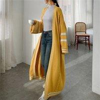 Ланмрем Осень Новый Длинный Стиль Кардиган для Женщин Свободные Полосатые Пэчворк Повседневная Вязаный свитер Популярное пальто PC425 201120