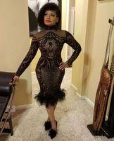 Sparkly manica lunga sexy Mermaid alto collo Illusione nero con paillettes piuma nera donne della ragazza Prom Dresses brevi africani 2021