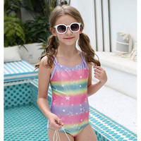 One Piece Swimsuits for Girls, Strap Crossback Children'...