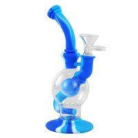"""7,4"""" tubo de agua de cristal bong fumar silicona Bong con recipiente de vidrio Dab aparejo de silicona Bong pipa de agua portátil"""