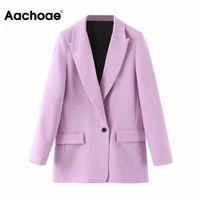 Aachoae Women Office Wear Suit Blazer Solid Casual Single Breasted Coat Jacket Long Sleeve Notched Collar Pockets Blazers 201012