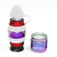 iwodevape Rainbow Color Glass Tube and Silicone Sanitary Cap Kit fit TFV12 Prince TFV8 Big Baby Cleito Valyrian Tank DHL Free