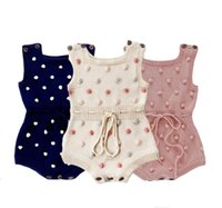 2021 Infant Baby Knitted Rompers Dot Printed Sleeveless Solid Wool Jumpsuit Waist Elastic Kid Onesies Girls Clothes