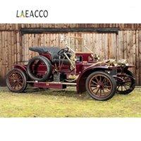 Laeacco Fotoğraf Arka Planlar Eski Eski Vintage Araba Ahşap Duvar Çimen Bebek Portre Sahne Fotoğraf Arka Planında PhotoCall Fotoğraf Stüdyosu1