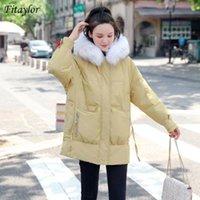 Mulheres para baixo parkas fitaylor inverno mulheres colarinho de pele natural longo casaco 90% branco pato espessura morna salva nevado outwear