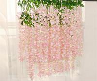 110cm 빽빽한 등나무 꽃 인공 실크 꽃 덩굴 웨딩 가든 홈 파티 장식 HHD4813에 대 한 우아한 실크 꽃 포도 나무 등나무