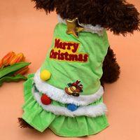 الكلب شجرة عيد الميلاد اللباس الملابس الدافئة كلب فتاة الأميرة اللباس معطف عيد ميلاد سعيد ملابس صغيرة جرو chihuahua1