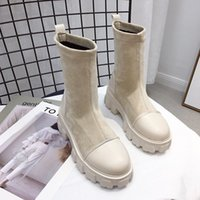 Black Sock Botas Mulheres 2020 Nova Punk Gothic Sapatos Ankle Boots Plataforma Sapatos Mulheres Peúgas Branco Botas Y1106