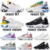 2021 New React Vision Element 55 87 Triple Black White S Anthracite Men Women Running Shoes Iridescent Outdoor Mens Trainers Sports Sneakers