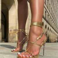 샌들 여성 신발 섹시 크로스 스트라이프 헤이트 발 뒤꿈치 11cm 발 뒤꿈치 검은 색 여름 골드 블랙 쇼 1