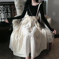 Etekler Qiukichonson Yaz Uzun Bayan Maxi Etek Kawaii Lolita Tarzı Fill Dantelli Yüksek Waisted Askı Bayanlar Tulum