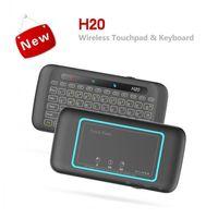 Nuova retroilluminazione wireless H20 2.4G Mini tastiera TOUCHPAD Telecomando per laptop X96 Mini TV Box Android Tablet PC