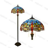 Zemin Lambaları Avrupa Retro Mavi Yusufçuk Renkli Cam Çapı 40 cm Lehimleme 110-240 V Oturma Odası Yatak Odası Bar DHL