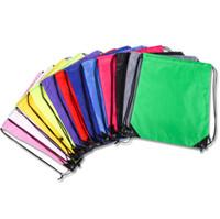 100 pcs novo cordão 210polyest tecido bolsas de lona d'água mochila dobrável sacos de marketing promoção cordão de ombro sacos de compras