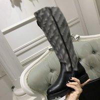 Kadın Martin Platformu Çizmeler Siyah Ayakkabı Uyluk-Yüksek Çizmeler Moda Şövalye Çorap Botları Yüksek Kalite Kış Boot ile Mektup Diz Yüksek Boot