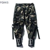 Fgkks homens camuflagem calças de carga moda masculino masculino hip hop lápis calças homens 100% casual sweatpants marca roupas 201110