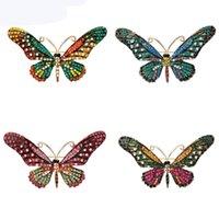 Broches de papillons colorés pour femmes pour femmes en cristal strass col collier manches bijoux Boutonniere broches broches
