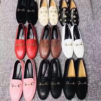 Женские плоские повседневные туфли подлинные коровьиные металлические пряжки женские туфли кожаные мулы принстаунды мужчины растоптать ленивые большие платье обувь размер 34-46