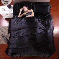 50 Biancheria da letto Set di biancheria da letto in lino in satinato Set da letto doppia copriletto sul lenzuolo con foglio elastico all'ingrosso lotti all'ingrosso1