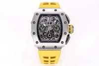أنتجت مصنع KV نسخة ترقية V2 الجديدة RM011 RM11-03 Flight Timer Limited Edition Watch تعتمد Matte Black DLC Titanium Metal To Mak