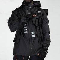 Мужские куртки мужские грузовые куртки ветровка темный стиль много кармана буквы печати уличные одежды хип-хоп тактическое пальто Techwear 2021 зима