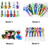 Silicone Smoking Pipe Guitar Silicone Hand Pipe with Glass Bowl Oil Rigs Colorful Skull Glass Bong