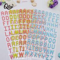 Emballage cadeau QITAI 4 feuilles 24cm * 12cm Alphabet lettres Scrapbooking Creative Stickers Creative Stickers A-Z Home Decor Décor à la main pour enfants PS001