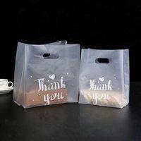 Gracias Bolsa de regalos de plástico Bolso de compras de pan con mango Fiesta de boda Plastic Candy Cake Bolsas de envoltura