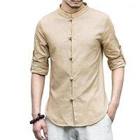 2018 Nuevo Casual Chino Botones de Rana Camisas Hombres Algodón Lino Vintage Slim Fit Hombre Camisetas Manga larga Hombre blanco Ropa1
