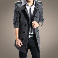 Großhandel - 2016 neue Mode Herbst und Winter Oberbekleidung Zweireiher lange Trenchmantel Männer Windjacke Mantel Overcoat1