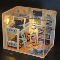 Doub K Kawaii Möbel Spielzeug Miniatur Schlafzimmer Holz DIY Puppen Haus Talend Spiel Spielzeug für Mädchen Kinder Puppenhaus Kreative Geschenke Y200428