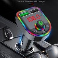 최신 F6 자동차 충전기 블루투스 5.0 FM 송신기 RGB 분위기 라이트 자동차 키트 MP3 플레이어 무선 핸즈프리 오디오 수신기 소매 상자