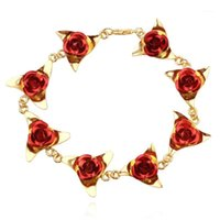 سحر أساور النساء روز اليدوى سوار العصرية زهرة رومانسية مجوهرات الزفاف الذهب اللون لصديقة سيدة هدايا الإناث 1