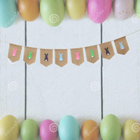 Happy Easter Bunny Printed Bunting Banners Hessian Burlap Ea...