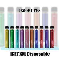 정통 Iget XXL 일회용 포드 장치 키트 1800 퍼프 950mAh 7ml P Prefilled Vape Stick for H Edge Lite 플러스 최대 유량 100 % 정품