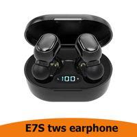 Hote Satış E7S TWS 5.0 Bluetooth Kulaklık 5.0 Gürültü Su Geçirmez LED Ekran Kulak Oyun Kulaklıklar Stereo Kulakiçi