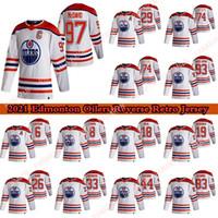 Edmonton Oilers 2020-21 Reverse Retro Jersey 97 Connor McDavid 29 Leon Draisaitl 74 LNB 74 Ethan Bear Hockey Jerseys