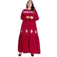 Plus Size Embroidery Abaya Dubai Kaftan Muslim Women Beads Dress Islamic Long Sleeve Party Gown Arab Robe Ramadan Caftan Abayas1 Ethnic Clot