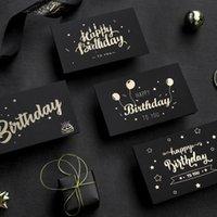 Biglietto di auguri di compleanno Black Biglietto Bronzing Inviti Postcard Augeri Benedizione Messaggio Schede di messaggio Small Card Blank con busta
