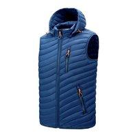 Kış Ördek Aşağı Ceket Yelek Erkekler 2020 Sonbahar Sıcak Rahat Dış Giyim Ayrılabilir Şapka Fermuar Katı Renk Ördek Aşağı Ceket Erkekler Palto