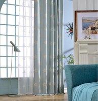 Rideau rideaux fyfuyoufy moderne simple les étoiles brodées pure couleur tissu rideau / voile enfants salle de vie