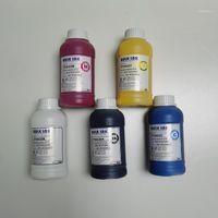 1 زجاجات / وحدة الحبر النسيج ل تي شيرت تي شيرت قمصان القماش الملابس الملابس الطابعة CMYKW1 مجموعات الملء