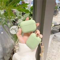 Luxo fofo daisy flor laço chaveiro capa verde para Apple airpods 2 1 pro casos acessórios bluetooth fone de ouvido de silicone