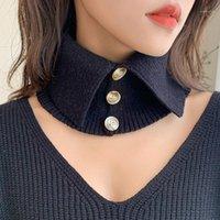 الأوشحة تصميم الصلبة الشتاء محبوك اللانهاية النساء زر bandanas neckchief لينة شال الأغطية طوق أنثى سنود bufandas موهير 1